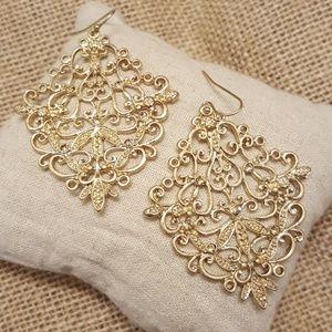 Jewelry - Rhinestone Scroll Earrings
